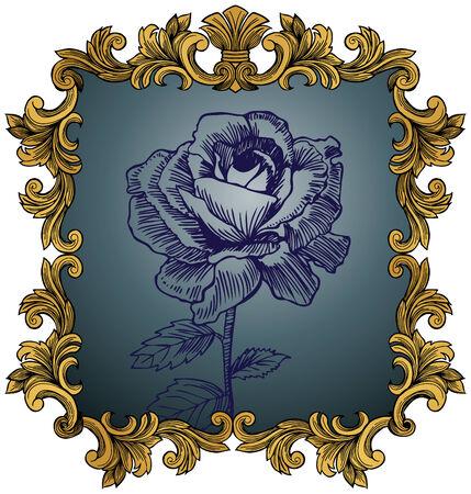 アンティーク ローズ: 手詳細なゴールド フレームで描かれた花。  イラスト・ベクター素材