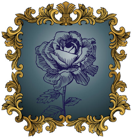 Antique Rose : Hand drawn flower in a detailed gold frame. Vector