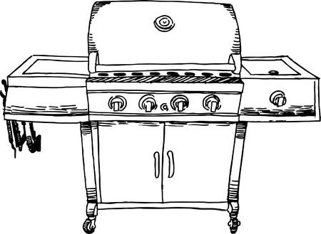 Barbecue Drawing Ilustrace