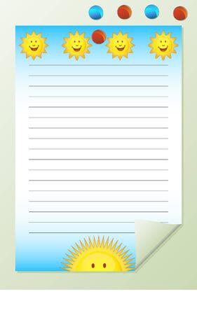 sun notepad Ilustrace