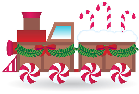 peppermint candy: Christmas Train Illustration
