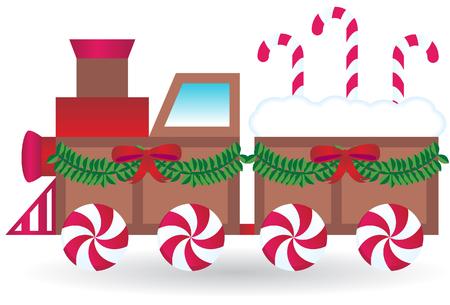 mint candy: Christmas Train Illustration