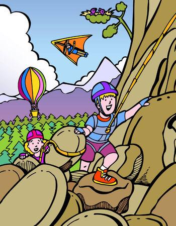 ni�o escalando: escaladores