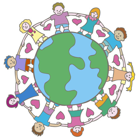 interracial: Love Earth Vectores