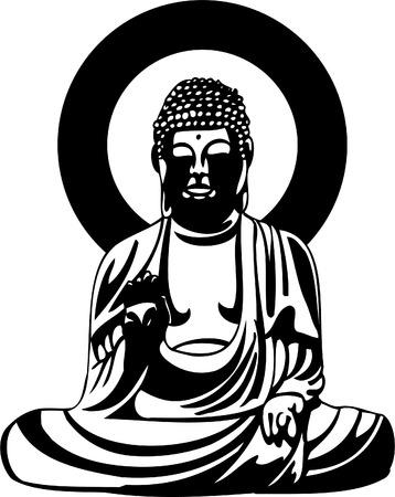 meditation isolated white: Buddha Black Drawing