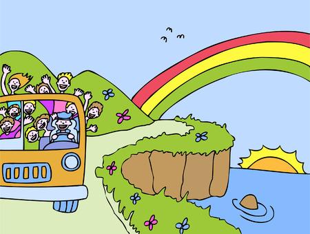虹のバス  イラスト・ベクター素材