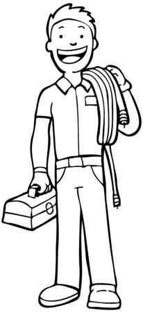 installer: Cable Guy Line Art : man carry cable and toolbox Illustration