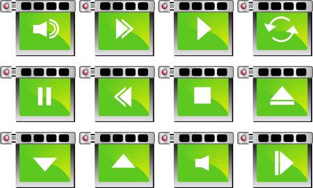 Media Player Set Green Stock Illustratie