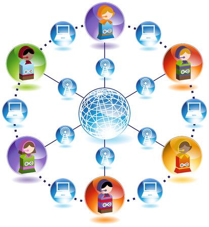 Online Gaming Network Stock Vector - 5326284