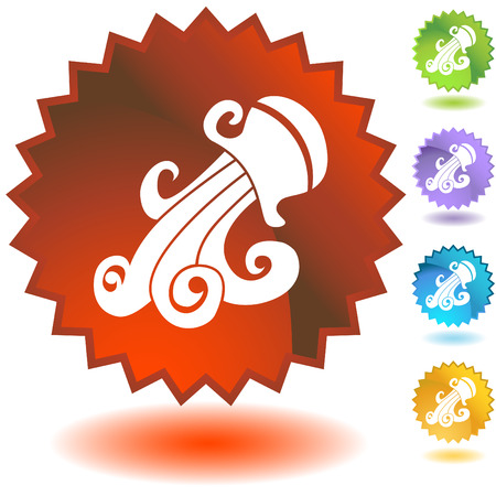 zodiac badge aquarius Stock Vector - 5358946