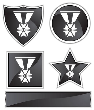 military medal icon black Ilustrace