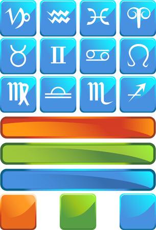 Zodiac Icon Blue Set Vector