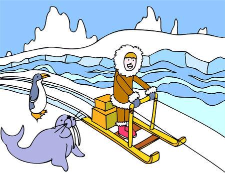 eskimo sled Illusztráció