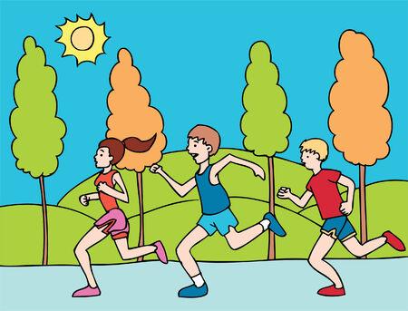 marathon running Illusztráció