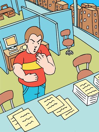 office cubicle: Papercut Illustration