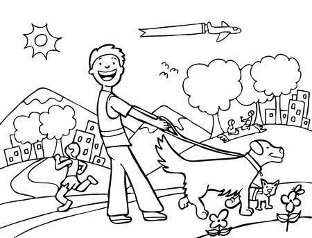Dog Walker Park Line Art Vector