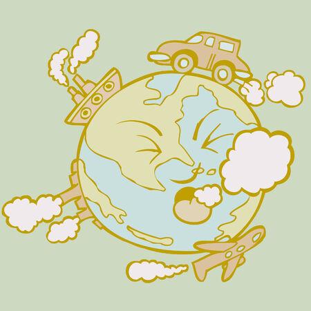 choking: global pollution green Illustration