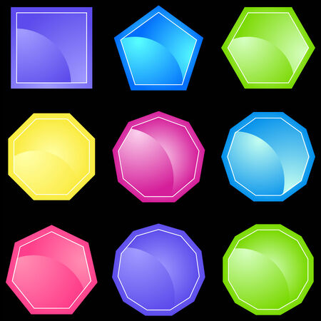 Neon Polygon Icons Vector