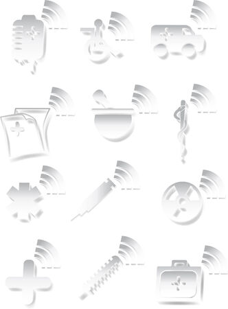 White Medical 3D Icon Set Stock Vector - 5376809