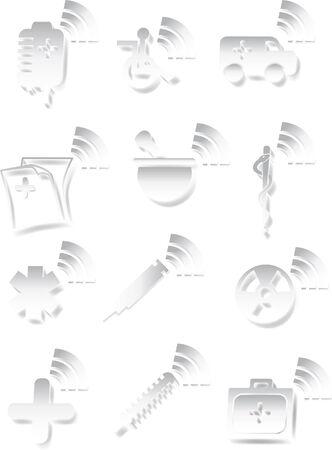 White Medical 3D Icon Set Stock Vector - 5376809
