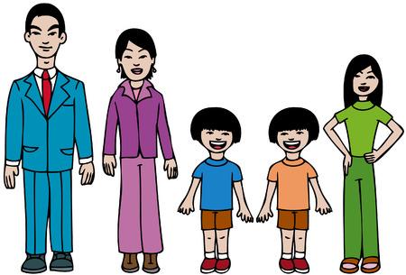 asian family: Asian Family Illustration