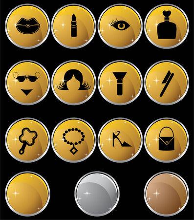 Beauty Gold Button Set Stock Vector - 5376824