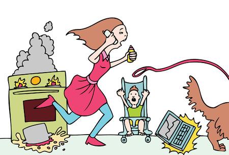 bad day mom Stock Illustratie