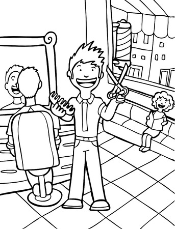 Hair Salon Line Art : Man cutting hair in his barbershop. Vector