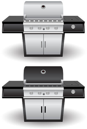 grill: Barbecue Grill Set Illustration