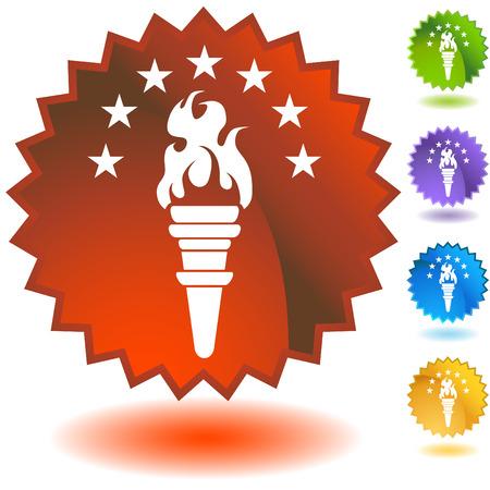 torch icon badge Ilustracja