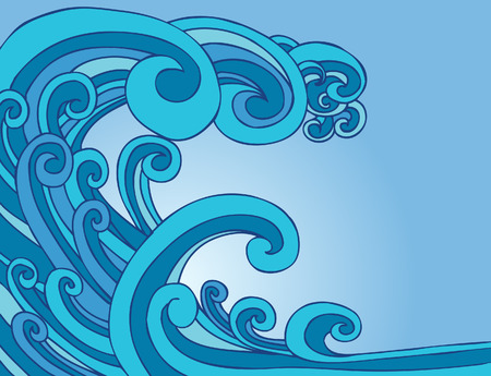 Blue Tsunami Wave Stock Vector - 5391086