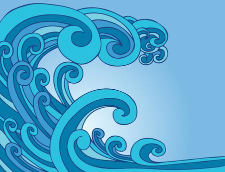 Blue Tsunami Wave Stock Vector - 5391086