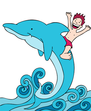 Child Rides Dolphin Illusztráció