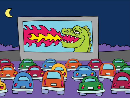 monster movie: Drive-In Movie Theater