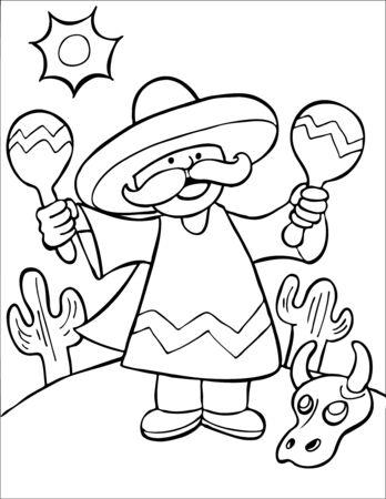 Mexican Maraca Player Line Art Vector