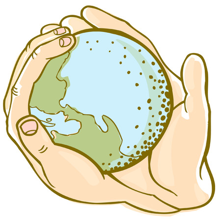globe hand Vector