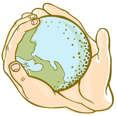 Globe hand Stock Illustratie