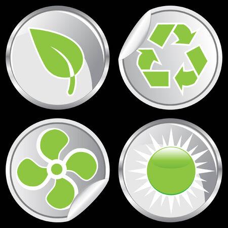 green energy sticker set
