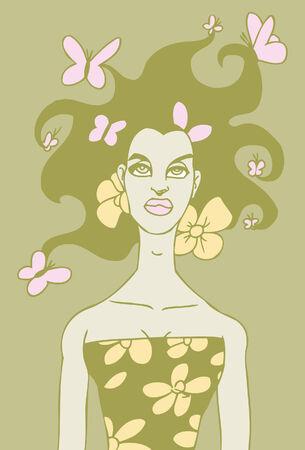 femme papillon: femme de papillon Illustration