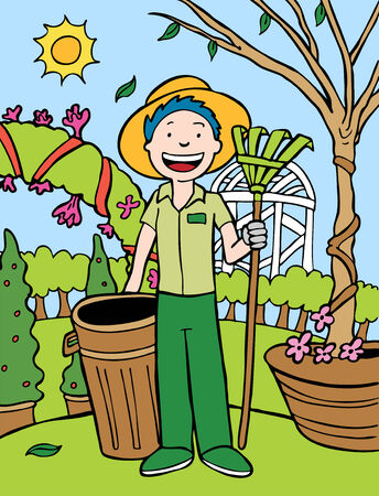 Gardener Cartoon Vectores