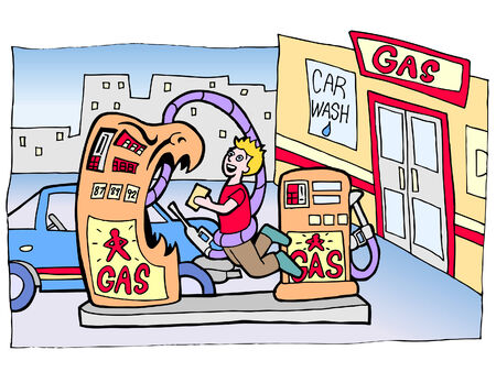 gas station monster Vector