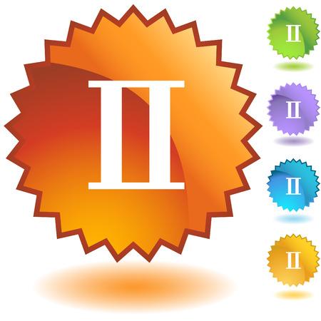 Gemini zodiac badge Vector