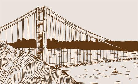 golden gate bridge: Golden Gate Bridge Drawing Illustration