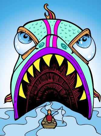 dangerous man: giant fish