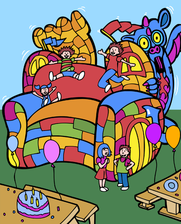 bounce: bounce house Illustration