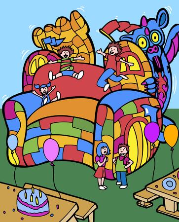 bounce: bounce house Illustration
