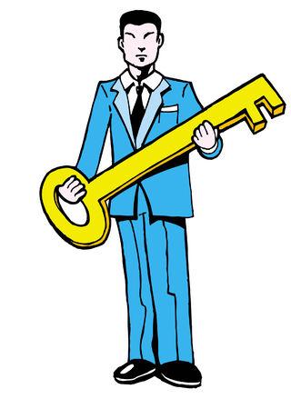 gold key man Stock Vector - 5456661