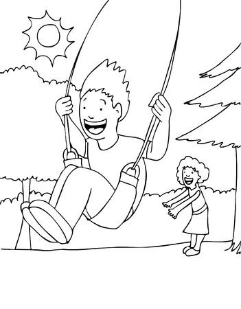 Children Swinging Vector