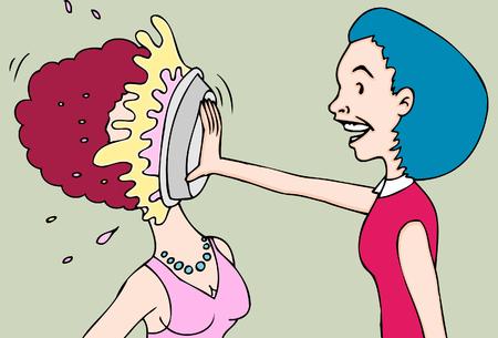 pie fight women Stock Vector - 5467168
