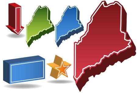 maine: Maine State Illustration